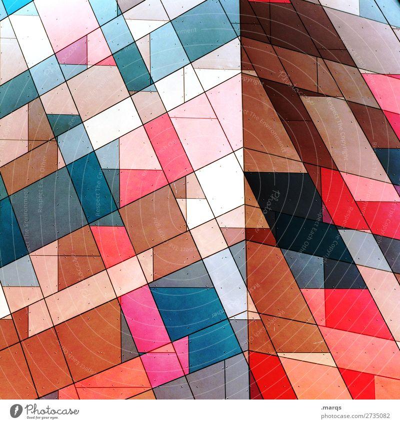 Eckig & kantig Mauer Wand Fassade Linie Streifen Coolness eckig trendy schön verrückt blau braun rosa rot schwarz türkis Freude Farbe Perspektive