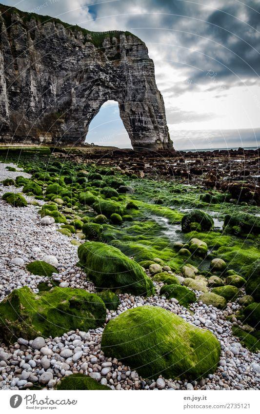 auf Meereshöhe Ferien & Urlaub & Reisen Ausflug Natur Landschaft Himmel Wolken Horizont Klima Klimawandel Algen Wasserpflanze Felsen Küste Strand Kieselstrand