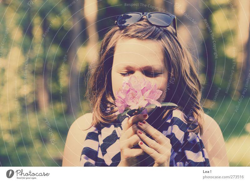 so riecht der Sommer feminin Junge Frau Jugendliche Schwester Haare & Frisuren 18-30 Jahre Erwachsene Natur Frühling Blume Wald brünett Sonnenbrille Schal