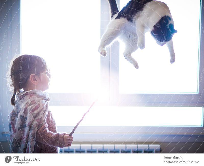Das magische Mädchen Spielen Kinderspiel Kindererziehung Zauberei u. Magie Zauberer Mensch feminin Kindheit 1 1-3 Jahre Kleinkind Haus Fenster Kap Brille Zopf