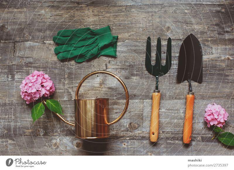 Sommergärtner Tischaufsicht mit Gartengeräten Design schön Freizeit & Hobby Dekoration & Verzierung Werkzeug Natur Pflanze Blume Blatt Blüte Handschuhe Dose