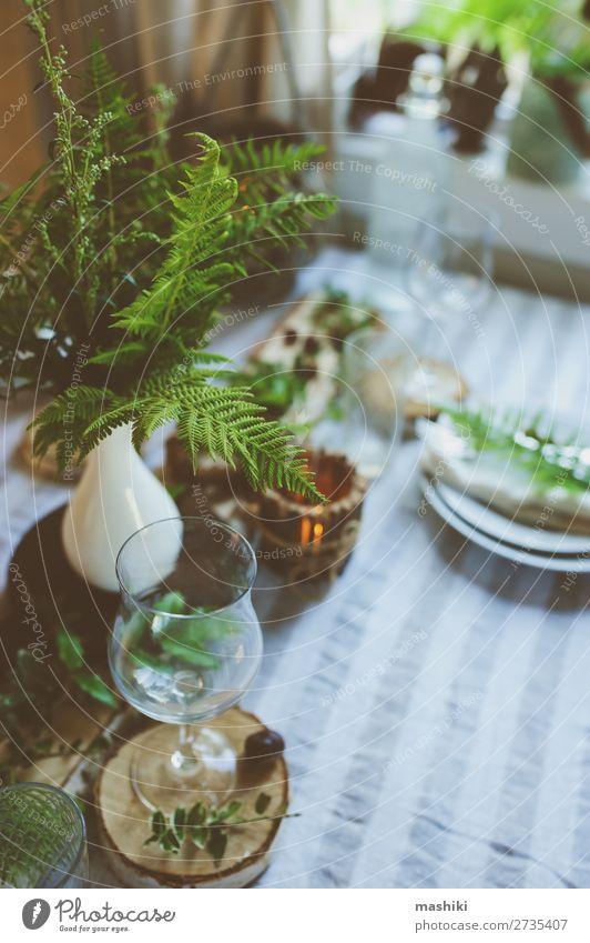 Natur Sommer grün Wald Holz natürlich Feste & Feiern Stil Garten Design Dekoration & Verzierung wild Tisch Platz Romantik Hochzeit