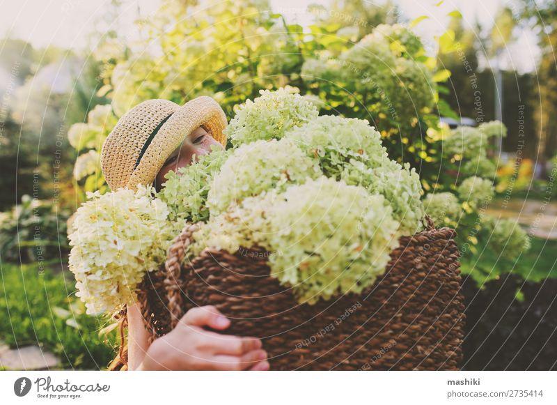 fröhlich romantisches Kind Mädchen spielt und pflückt Blumen Lifestyle Freude harmonisch Freizeit & Hobby Spielen Sommer Garten Gartenarbeit Umwelt Natur