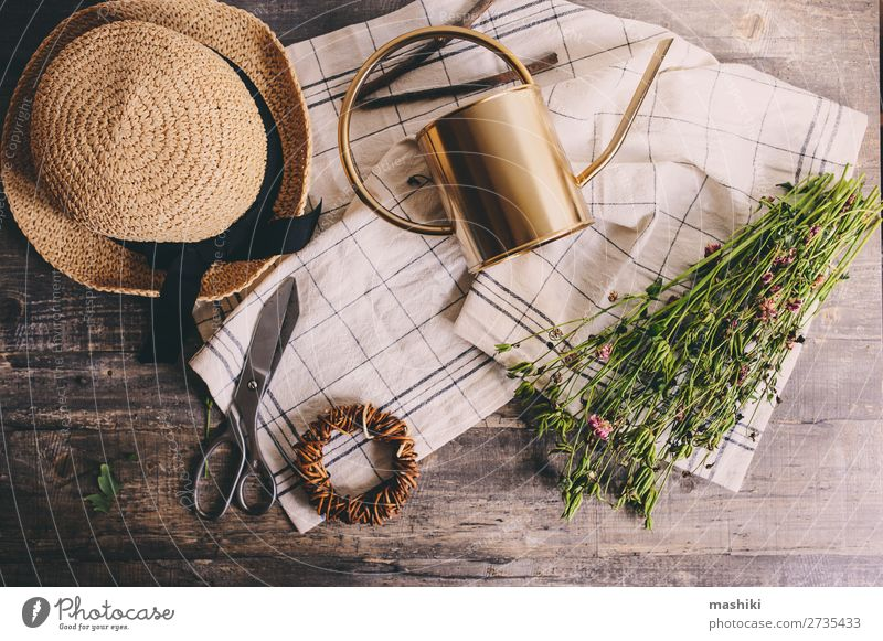 rustikaler Gärtner auf weißem Hintergrund. Freizeit & Hobby Sommer Garten Tisch Schere Umwelt Natur Pflanze Blume Hut Gießkanne alt Wachstum grün Frühling