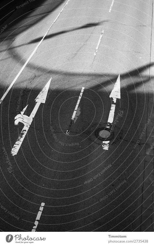 Wegweisend Stadt Verkehr Straßenverkehr Autofahren Zeichen Schilder & Markierungen grau schwarz weiß Pfeil Schatten Wegweiser wegweisend Gully Schwarzweißfoto