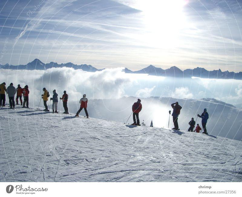 Nebelmeer Himmel Sonne Schnee Berge u. Gebirge hell Skifahren
