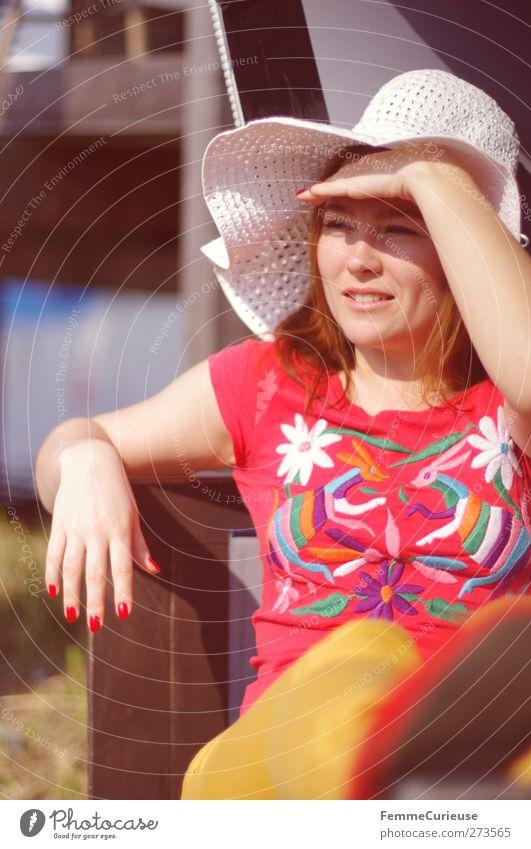 Summer heat. Ferien & Urlaub & Reisen Tourismus Ausflug Sommer Sommerurlaub Sonne Sonnenbad Strand Meer Insel feminin Junge Frau Jugendliche Erwachsene 1 Mensch