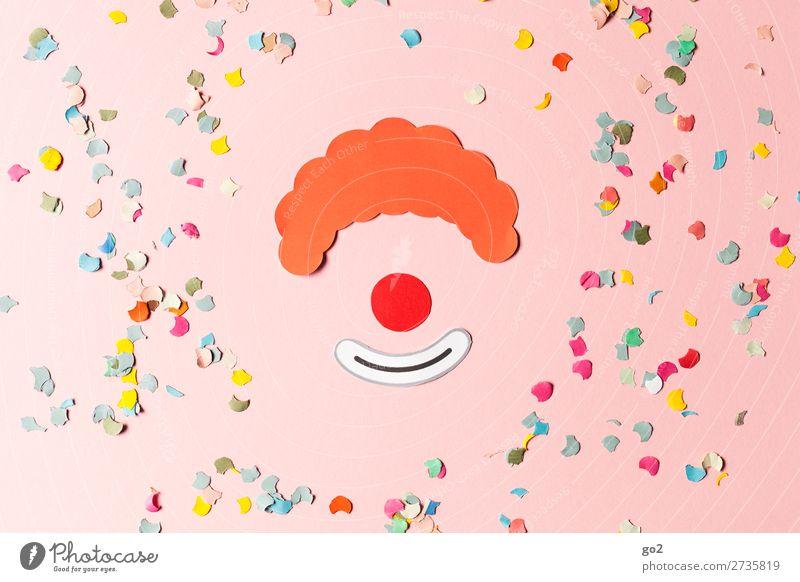 Clown und Konfetti Freude Freizeit & Hobby Basteln Feste & Feiern Karneval Papier Dekoration & Verzierung Zeichen Fröhlichkeit lustig mehrfarbig Gefühle