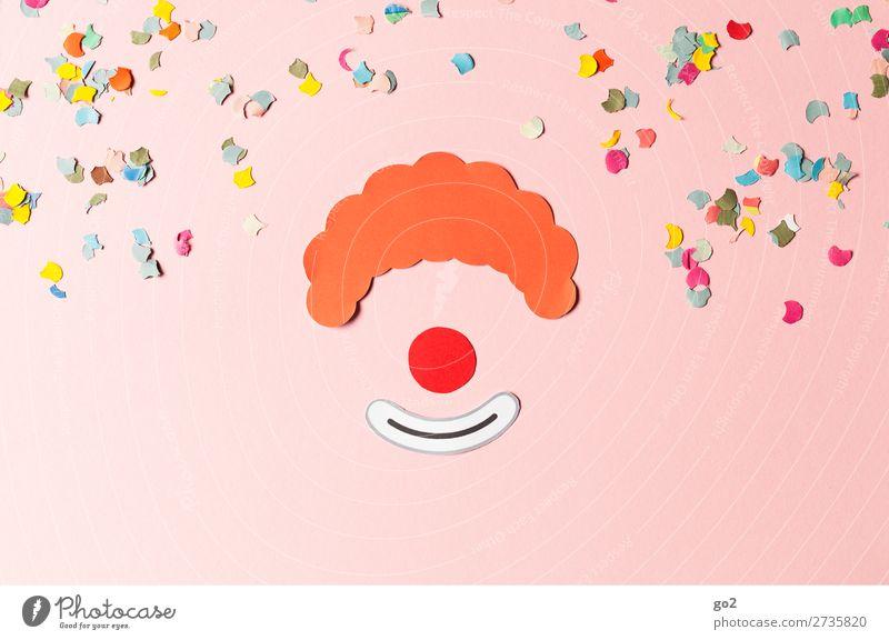 Clown und Konfetti Freizeit & Hobby Basteln Feste & Feiern Karneval Haare & Frisuren rothaarig Papier Dekoration & Verzierung Zeichen Lächeln lachen