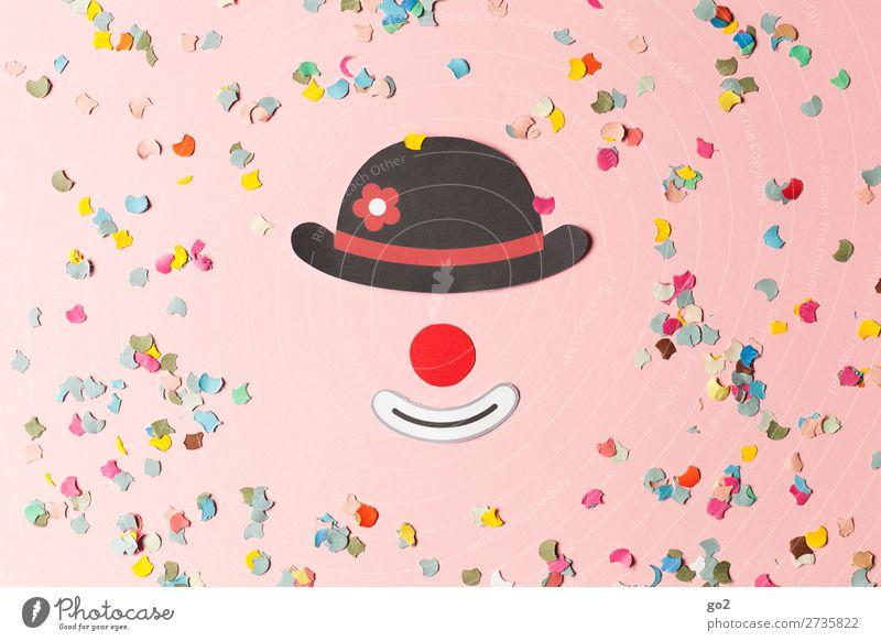 Clown und Konfetti Feste & Feiern Karneval Nase Hut Dekoration & Verzierung Fröhlichkeit lustig mehrfarbig Gefühle Freude Begeisterung Lebensfreude