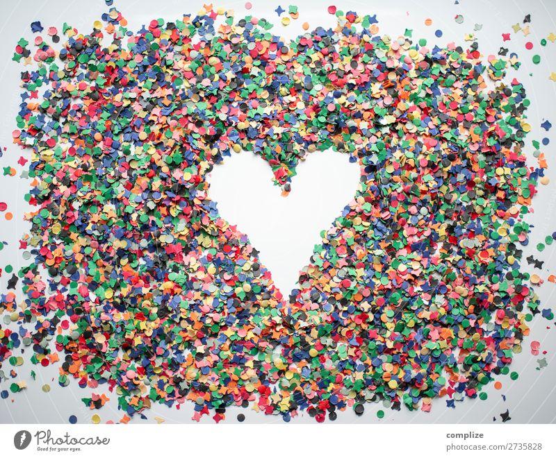 Herz aus Konfetti Freude Gesundheit Lifestyle Leben Liebe Feste & Feiern Party Zusammensein Freundschaft Musik Fröhlichkeit Wellness Postkarte trendy Karneval