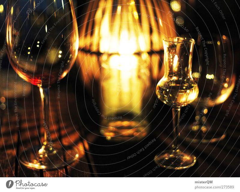 Sommernacht. Lifestyle ästhetisch Stil Grappa Grappaglas Wein Weinglas Weinkeller Kerzenschein Stimmung gemütlich Glas Gastronomie Alkohol Alkoholsucht