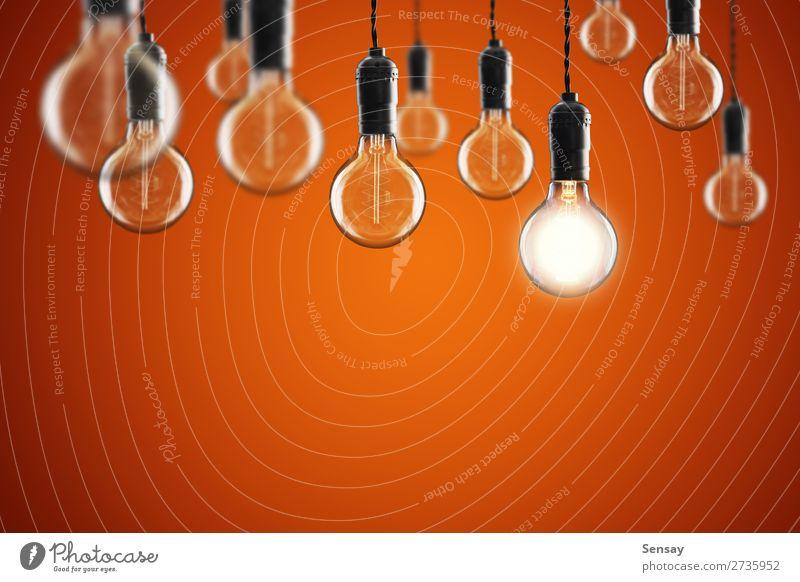 Ideen- und Führungskonzept Vintage Glühbirne Design Lampe Erfolg Wissenschaften Technik & Technologie alt hell gelb rot Energie Farbe Kreativität Hintergrund