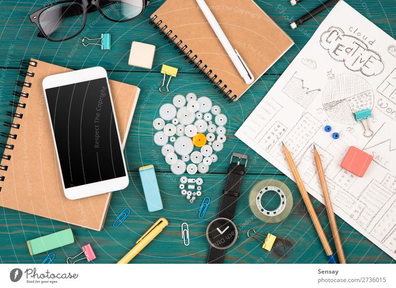 Ideenkonzept - Telefon, Uhr, Notizblock etc. lesen Schreibtisch Arbeitsplatz Büro Kapitalwirtschaft Business PDA Computer Bildschirm Technik & Technologie