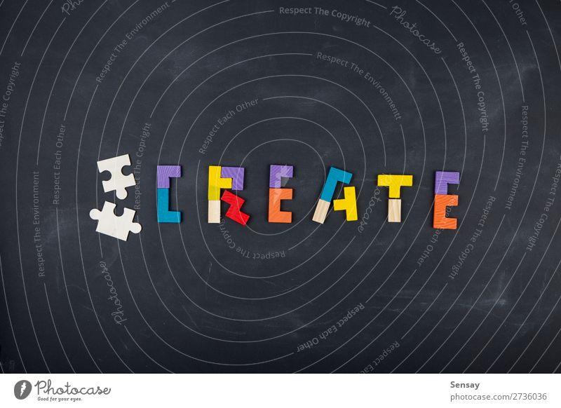 Business kreatives Lösungskonzept Puzzlespiel auf der Tafel Spielen Erfolg Familie & Verwandtschaft Menschengruppe Holz Denken schwarz Farbe Idee Kreativität