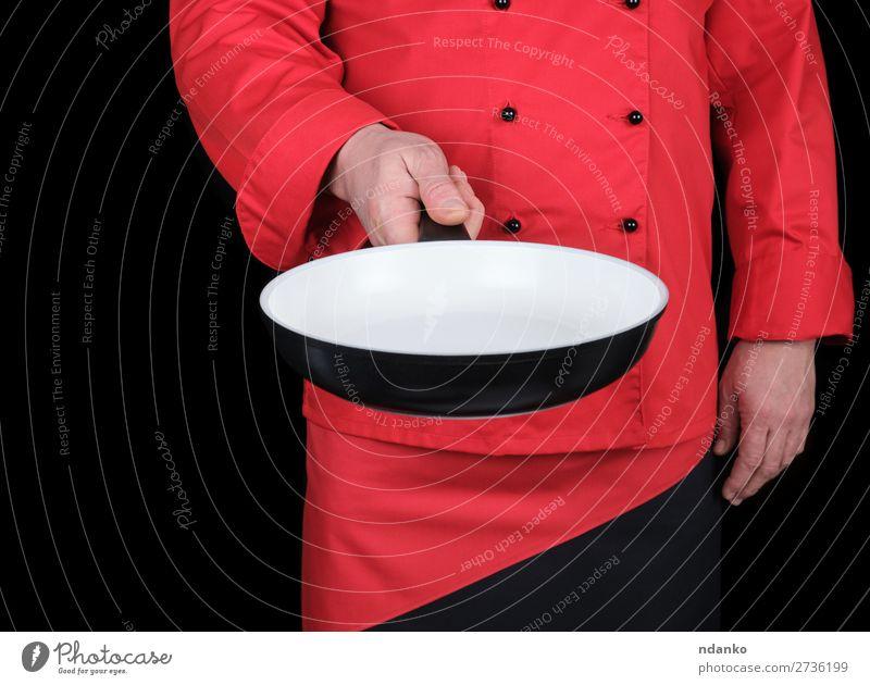 Koch mit einer leeren runden weißen Bratpfanne Pfanne Küche Restaurant Arbeit & Erwerbstätigkeit Beruf Mensch Mann Erwachsene Hand Bekleidung stehen rot schwarz