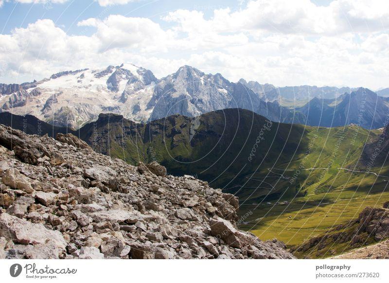 Die Farbpalette der Natur Landschaft Pflanze Erde Himmel Wolken Horizont Sonne Frühling Sommer Schönes Wetter Gras Grünpflanze Wiese Feld Felsen Alpen