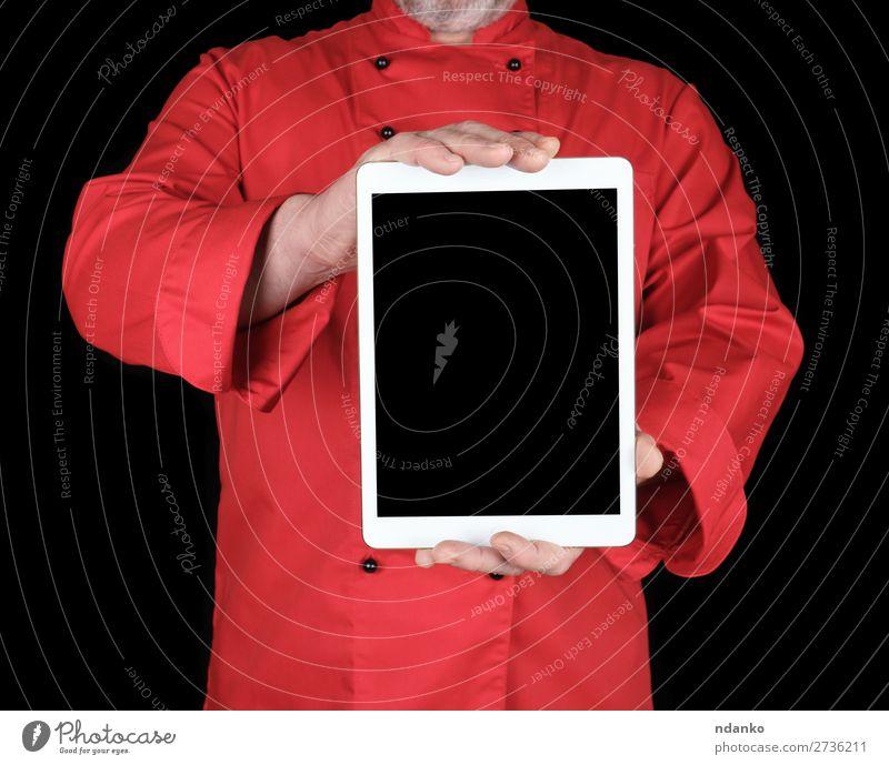 Koch in roter Uniform mit einer weißen elektronischen Tafel. Business Computer Notebook Bildschirm Technik & Technologie Internet Mensch Mann Erwachsene Hand