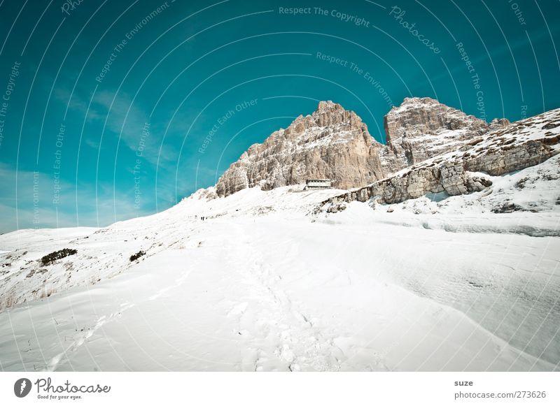 Richtung 3 Zinnen Ferien & Urlaub & Reisen Schnee Winterurlaub Berge u. Gebirge wandern Umwelt Natur Landschaft Urelemente Himmel Wolken Klima Schönes Wetter