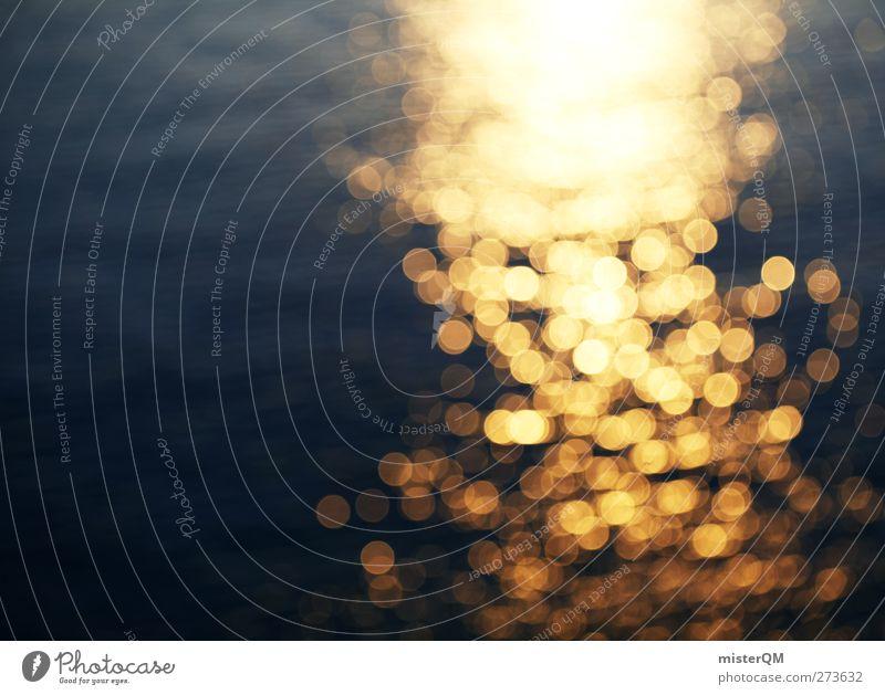 Golden Sea. Kunst ästhetisch Meer Wellen Wellengang Wellenform Sommer Sommerurlaub Romantik gold blau Wärme Wasser Wasseroberfläche Punkt Reflexion & Spiegelung