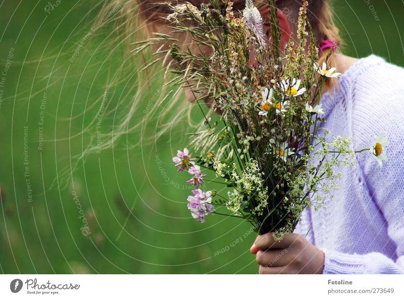 Blumen für Omi Mensch feminin Kind Mädchen Kindheit Haut Kopf Haare & Frisuren Hand 1 8-13 Jahre Umwelt Natur Pflanze Urelemente Luft Sommer Gras Blüte Garten
