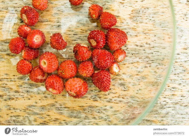 Walderdbeeren Lebensmittel Frucht Picknick Bioprodukte Vegetarische Ernährung Fingerfood Teller Gesundheit Gesunde Ernährung Sommer Garten Natur Pflanze Blatt