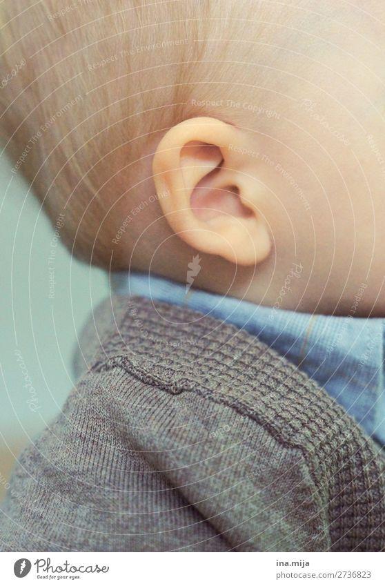 Ich höre... Kindererziehung Kindergarten Baby Kleinkind Ohr 1 Mensch 0-12 Monate 1-3 Jahre Mode Bekleidung Hemd hören klein Neugier niedlich blau Kindheit