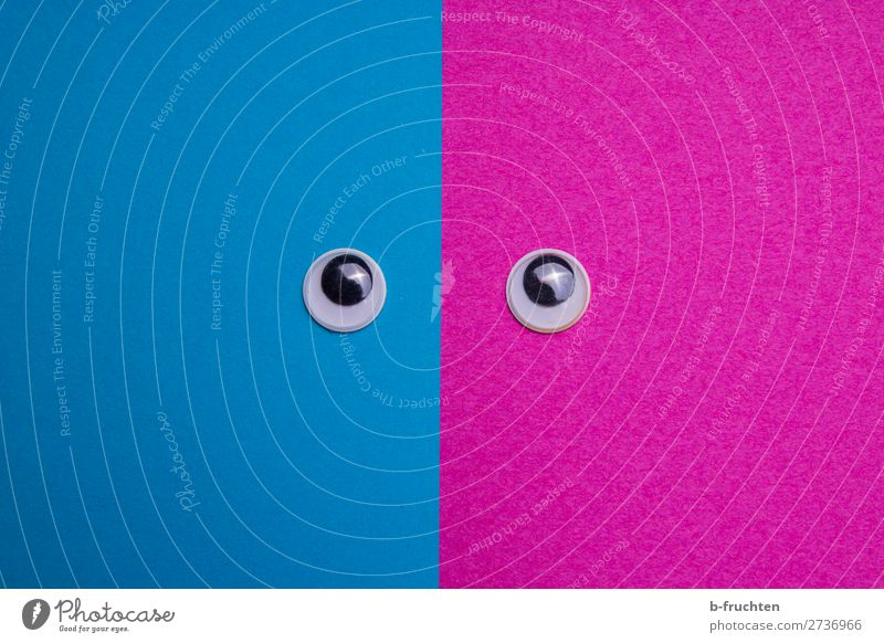 Wackelaugen auf rosa und blauem Hintergrund maskulin feminin androgyn Frau Erwachsene Mann Auge Papier Blick Zufriedenheit gleich Identität wackelaugen
