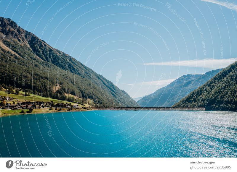 Vertagt Stausee im Herbst Südtirol speichersee blau berge natur natur pur blauer himmel wasser Natur Berge u. Gebirge Himmel See Außenaufnahme Landschaft Wasser