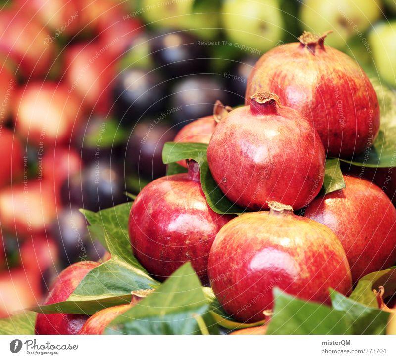 Rotstabler. Lebensmittel ästhetisch Zufriedenheit Auswahl Granatapfel Markt Markttag Marktplatz Marktstand Markthändler Stapel Gesunde Ernährung vitaminreich