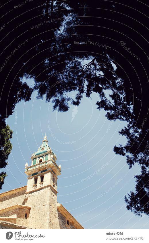 Symbol of Valldemossa. Kunst ästhetisch Spanien Religion & Glaube Kloster Hecke Klostergarten Wahrzeichen Turm Turmspitze Mallorca Farbfoto Gedeckte Farben