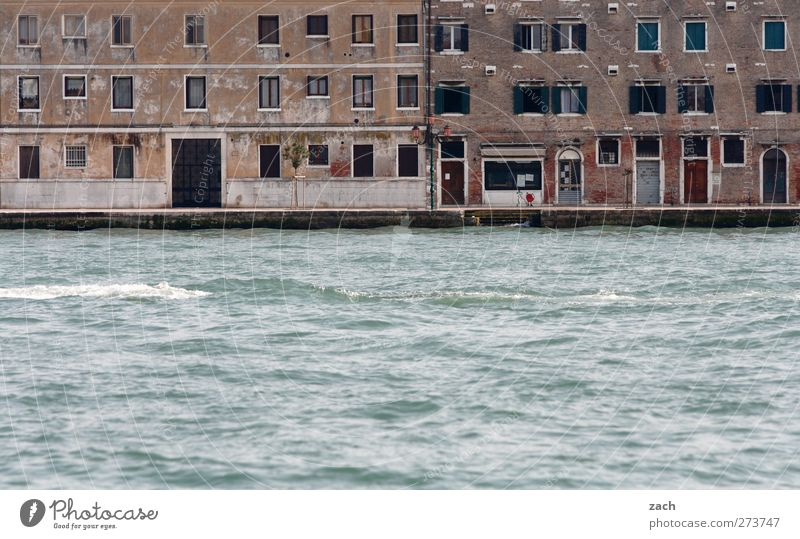 Am Wasser wohnen Wellen Küste Insel Kanal Venedig Italien Fischerdorf Hafenstadt Altstadt Menschenleer Haus Architektur Fassade Fenster Tür Häusliches Leben