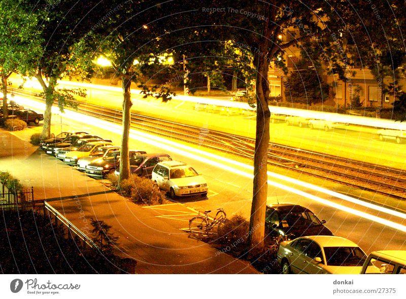 Nachtallee Straße Verkehr Geschwindigkeit Autobahn Allee