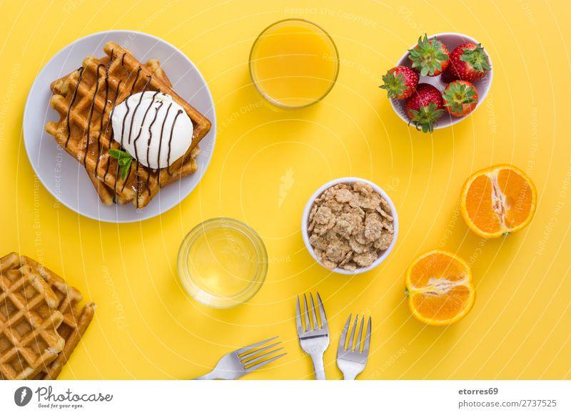Frühstück belgisch mit Waffeln mit Eismuster Dessert Speiseeis Belgier Belgien weiß gelb Bonbon Lebensmittel Gesunde Ernährung Foodfotografie