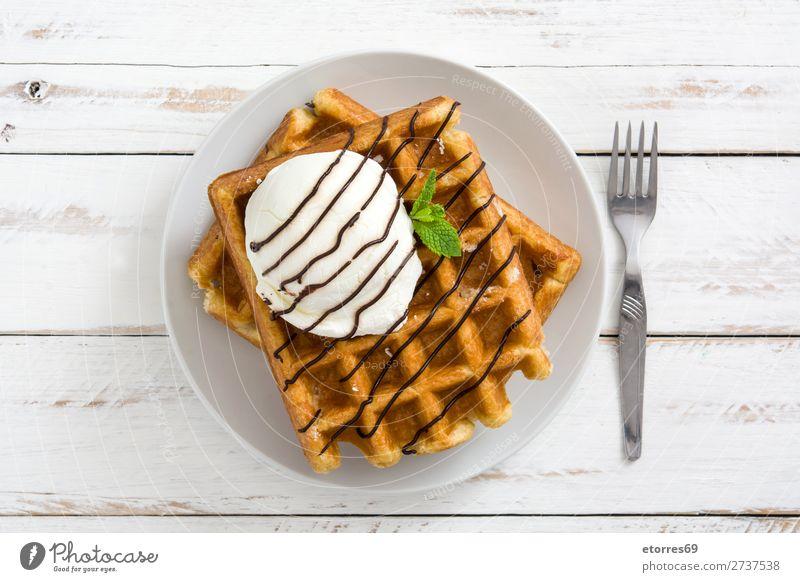 Gesunde Ernährung weiß Foodfotografie Lebensmittel Holz gelb süß frisch Speiseeis lecker Backwaren Dessert Frühstück Schokolade Snack Mittagessen