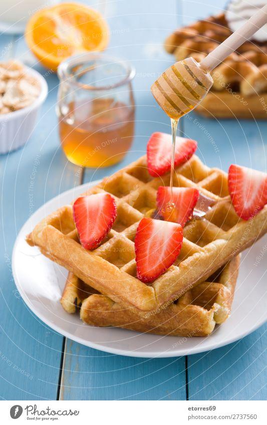 Frühstück belgisch mit Waffeln mit Erdbeeren und Honig Dessert Belgier Belgien weiß süß Bonbon Lebensmittel Gesunde Ernährung Foodfotografie Hintergrund neutral