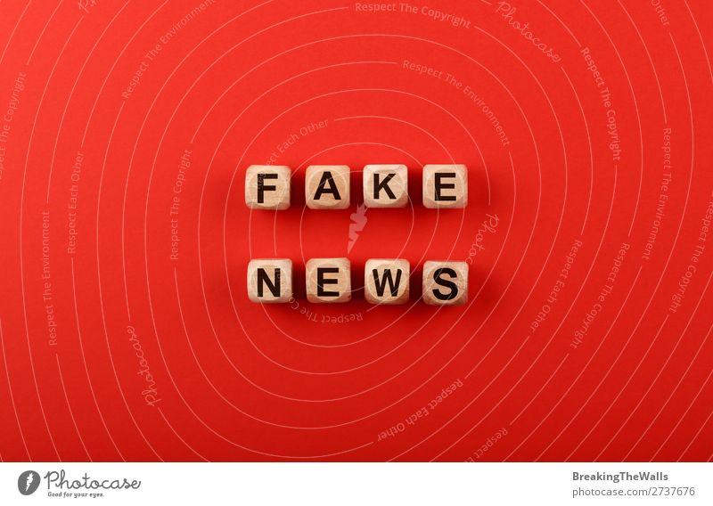 Holzwürfel mit FAKE NEWS Worten über rot Medien Papier Unglaube falsch Farbe Politik & Staat Information Fälschung Würfel Entwurf Text Journalismus Problem