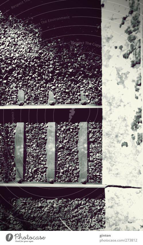 Gleis Bett Verkehr Tunnel Brücke Schienenverkehr Gleise Schienennetz Stein Sand Beton Metall Stahl dreckig dunkel fest trocken braun grau grün violett schwarz