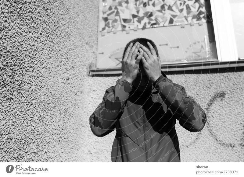 beunruhigter Teenager depressiv Lifestyle Sport Mensch maskulin Erwachsene Kopf Arme Finger 1 18-30 Jahre Jugendliche Kultur Jugendkultur Subkultur Stadtrand