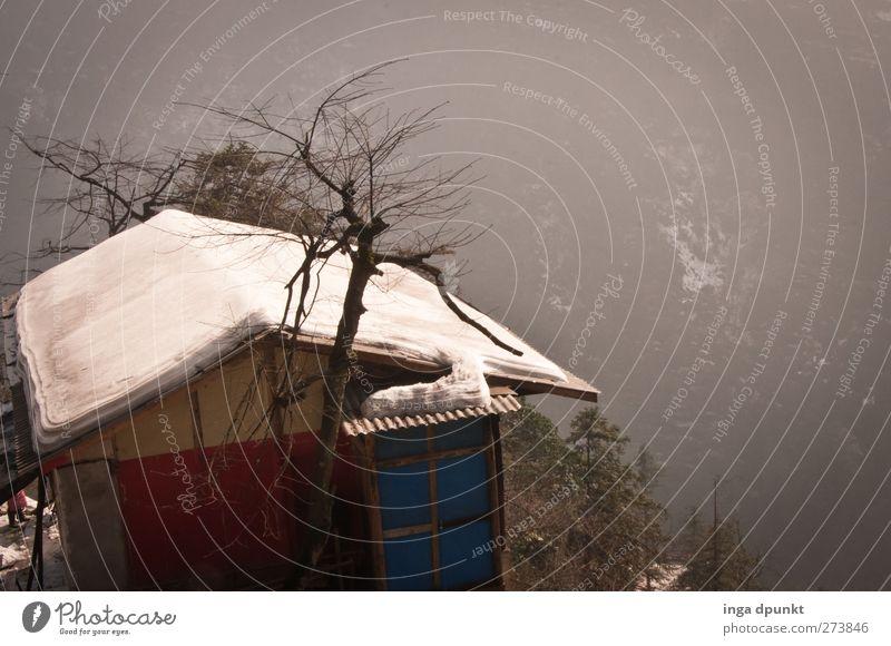 Spätwinter Umwelt Natur Landschaft Luft Winter Klima Schönes Wetter Eis Frost Schnee Berge u. Gebirge China Sichuan Asien Dorf Menschenleer Haus Hütte Berghütte