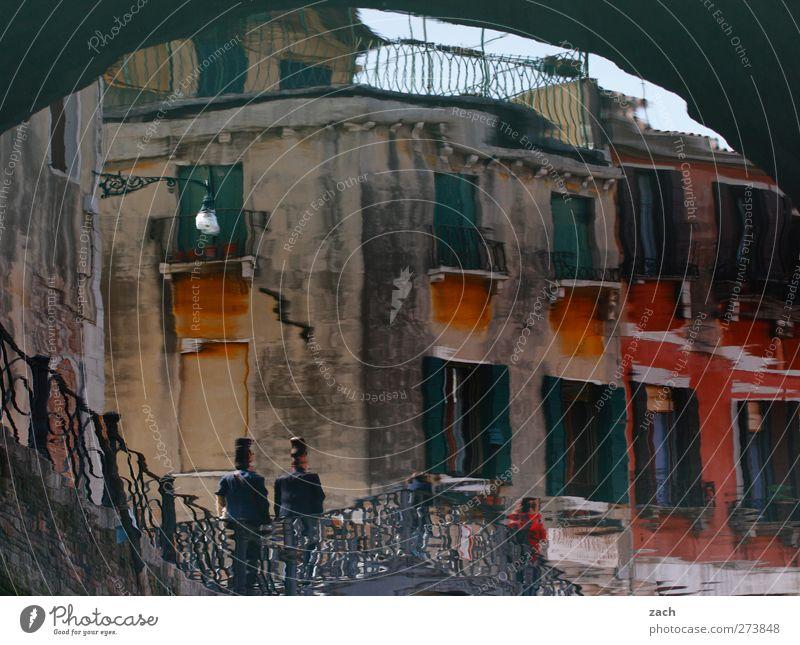 Aquarell Mensch 2 Wasser Insel Venedig Kanal Italien Fischerdorf Hafenstadt Altstadt Haus Ruine Brücke Architektur Mauer Wand Treppe Fenster Gasse Wasserstraße