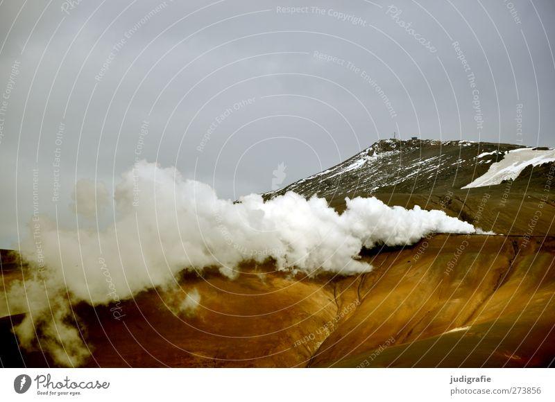 Island Umwelt Natur Landschaft Urelemente Himmel Wolken Klima Hügel Berge u. Gebirge Vulkan Krafla außergewöhnlich bedrohlich dunkel heiß natürlich wild