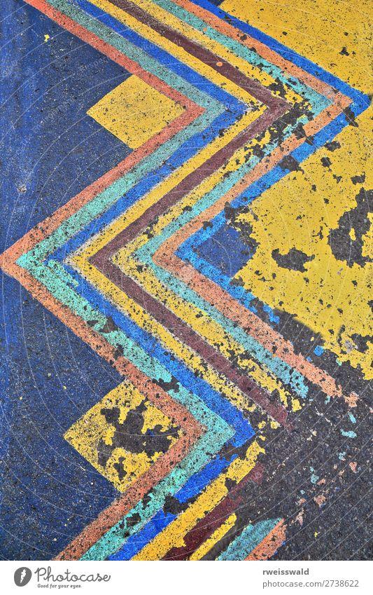 blau Stadt Farbe grün schwarz Straße gelb Farbstoff Wege & Pfade orange braun grau Design Linie Hinweisschild Zeichen