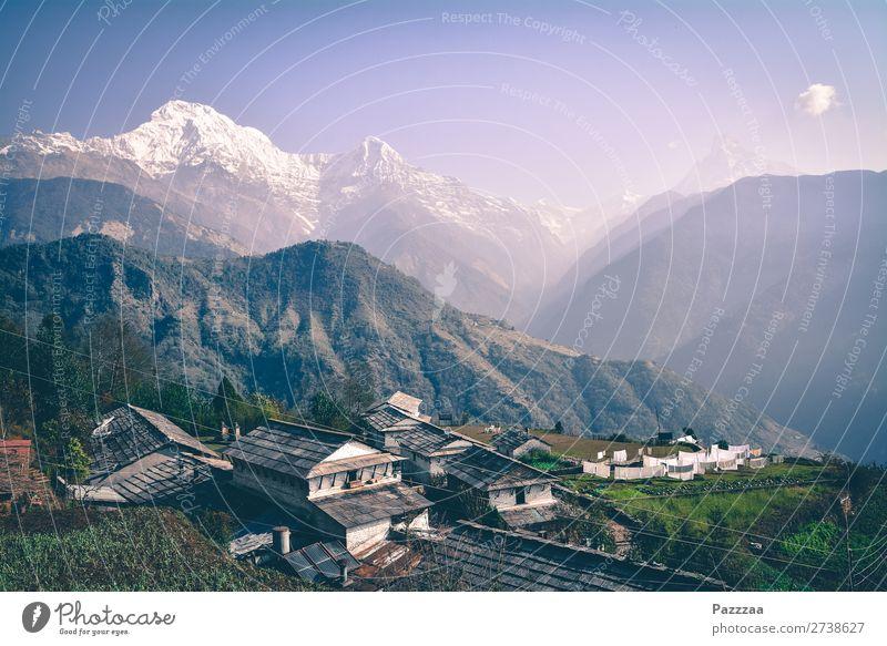 Waschtag in Ghandruk Ferien & Urlaub & Reisen Landschaft Erholung Ferne Berge u. Gebirge Umwelt Freiheit Felsen Zufriedenheit wild wandern Abenteuer Gipfel