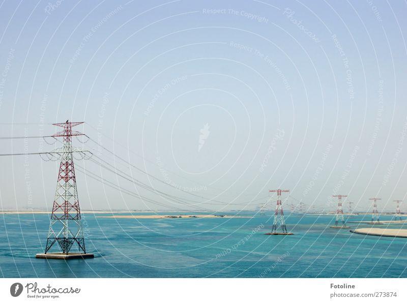 Energie!!! Himmel Natur blau Wasser weiß rot Meer Umwelt Wärme Sand hell Erde Urelemente Elektrizität Kabel Wüste