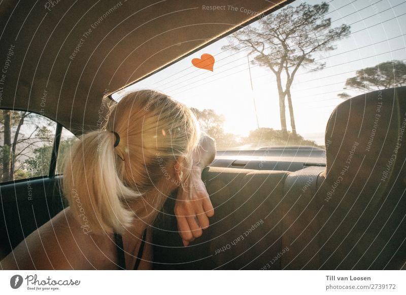 love and other drugs feminin Junge Frau Jugendliche 1 Mensch 18-30 Jahre Erwachsene Wolkenloser Himmel Sonne Sommer Schönes Wetter Fahrzeug PKW blond genießen