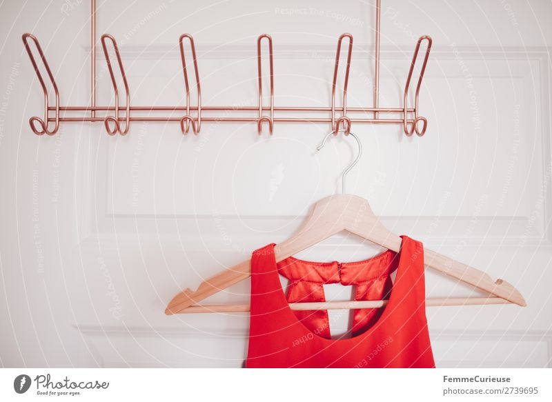 Coat hanger with red dress on copper-coloured coat hook Mode Bekleidung Häusliches Leben Kleid rot Kleiderbügel kupfer Holzbügel Abendkleid Schlafzimmer