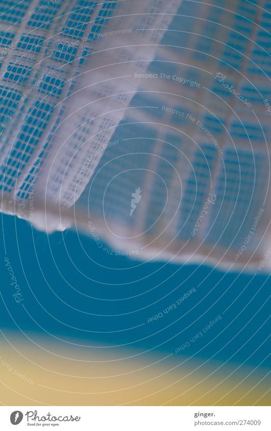 Hiddensee | Laues Lüftchen Tür blau gelb Gardine Faser gewebt wehen Muster luftig Bewegung Ecke durchsichtig Dekoration & Verzierung Farbfoto mehrfarbig