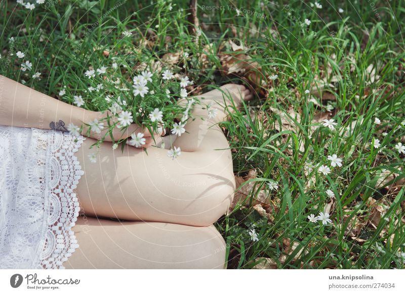 schneeweißchen ohne rosenrot Mensch Frau Natur Jugendliche weiß Hand Sommer Blume Erwachsene feminin Wärme Frühling Gras Junge Frau Beine Mode