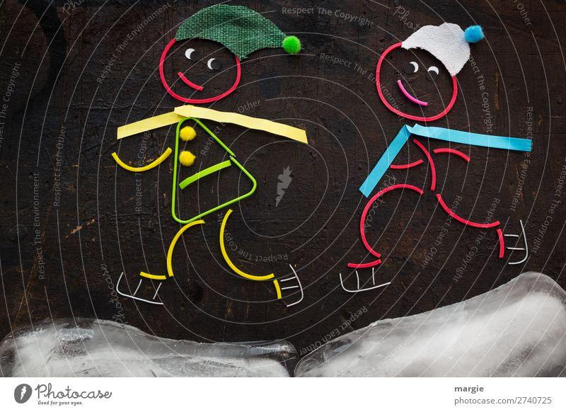Gummiwürmer: Eisläufer * in Frau Mensch Mann Freude Winter Mädchen Erwachsene kalt feminin Junge braun Freizeit & Hobby maskulin laufen Mütze